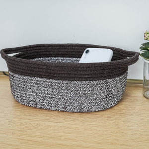 Cute Brown-White Rope Basket with Handles