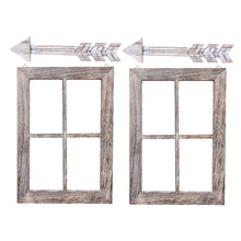 Load image into Gallery viewer, Rustic Wall Decor Wood Window Frames & Arrow Decor 2 Set