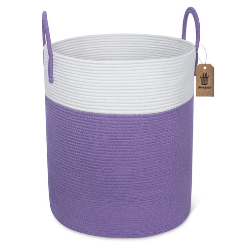 Tall Cotton Rope Laundry Basket for Dirty Clothes