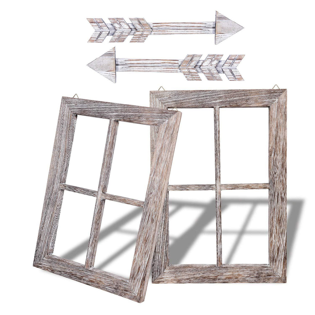 Rustic Wall Decor Wood Window Frames & Arrow Decor 2 Set