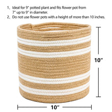 Load image into Gallery viewer, Jute Rope Plant Basket Beige Stripe