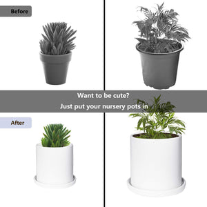 Ceramic Plant Pots Indoor Modern Planters with Drainage Hole and Tray Matte White