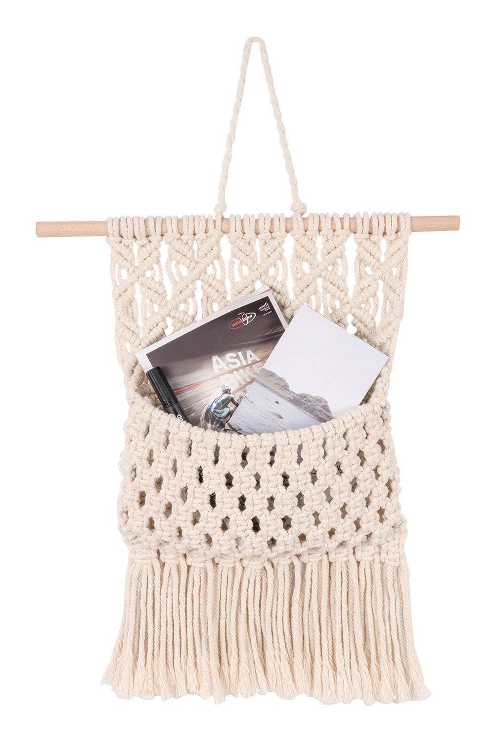 Macrame Wall Hanging Magazine Holder Organizer