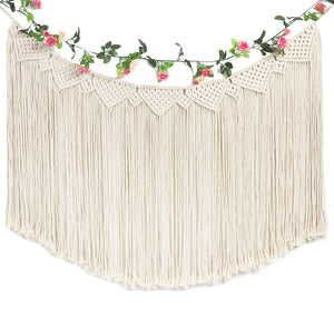 Large Macrame Woven Wall Hanging Curtain Fringe Banner Beige