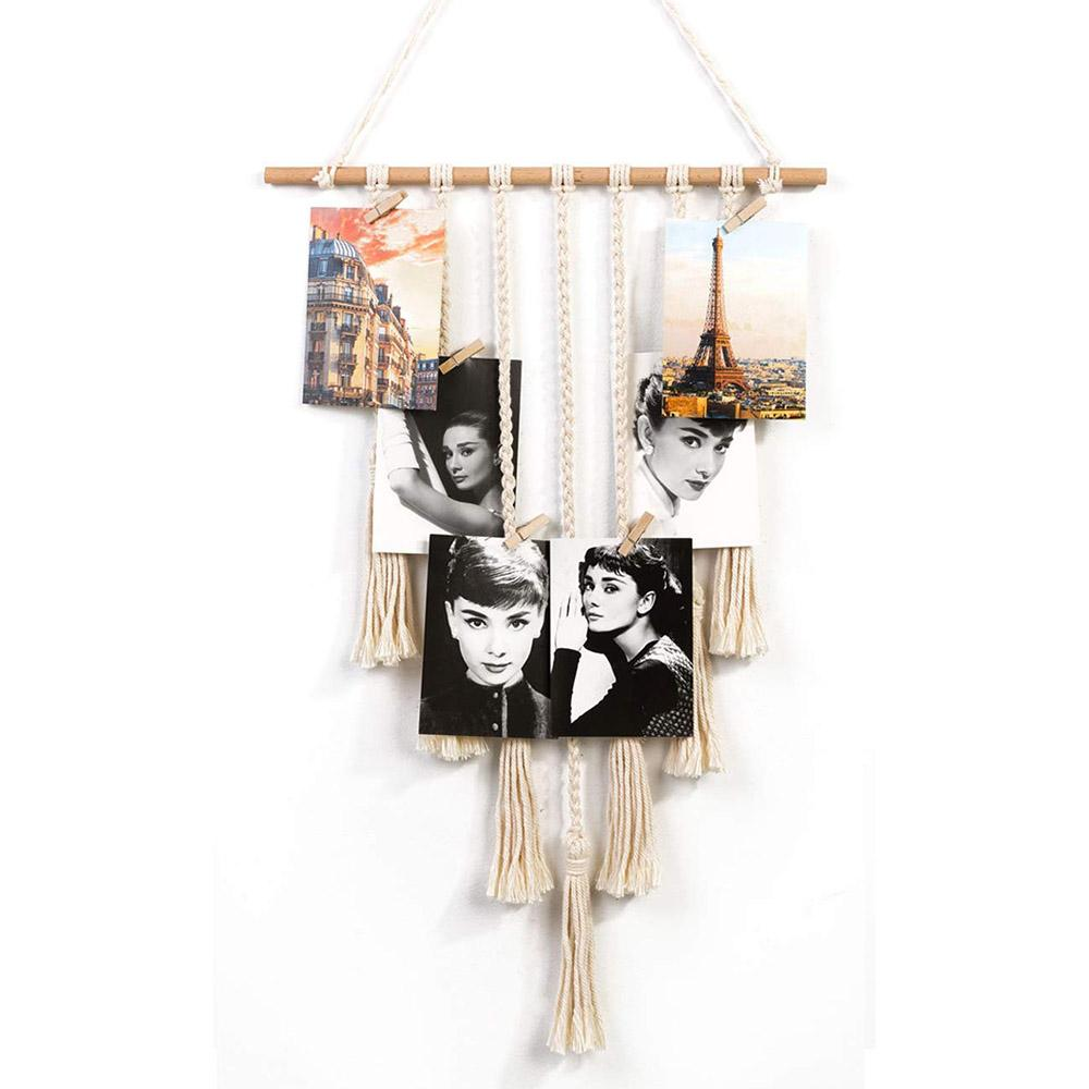 Wall Hanging DIY Photo Frame Organizer 30 Wood Clips