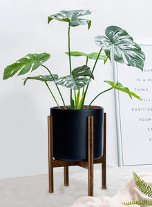 Gstory Mid Century Plant Stand - Up to 10'' Flower Pot, Wood Indoor Planter Holder