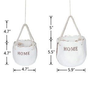 Modern Ceramic Hanging Planter with Ropes for Indoor 2 pcs