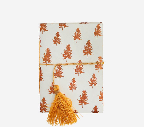 Madam Stoltz | Handmade Paper Notebook | Copper and White Forest Trees