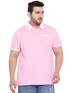 bigbanana Finley Pink Solid Polo Collar T-shirt - Bigbanana