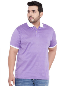 bigbanana Marvin Purple Solid Polo Collar T-shirt - Bigbanana