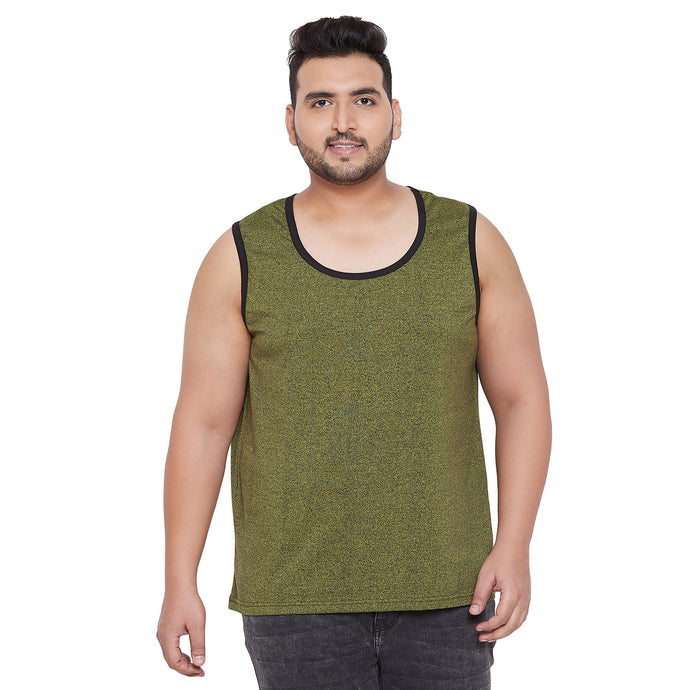 bigbanana Penrith Olive Solid Gym Vest Innerwear Vests