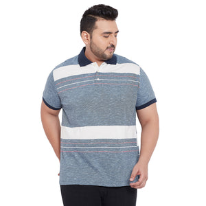bigbanana Exter Grey & White Striped Polo Collar Bio Finish T-shirt