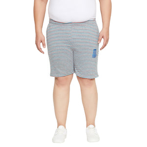 bigbanana Perth Grey & Brown Striped Regular Fit Regular Shorts