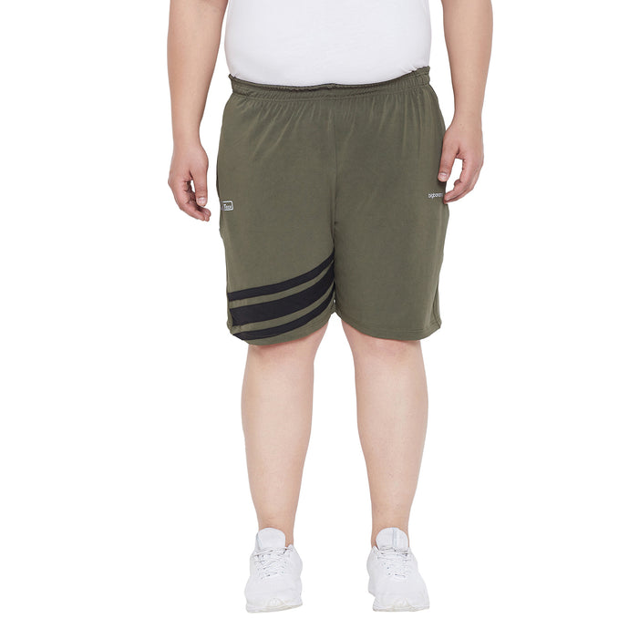 bigbanana Beson Olive Green & Black Striped Anti-Microbial Regular Fit Regular Shorts