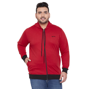 bigbanana Bangor Red Solid Hooded Sweatshirt