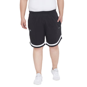 bigbanana Jesty Black Striped Regular Fit Plus Size Shorts