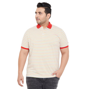 bigbanana Albans Multicoloured Striped Polo Collar Bio Finish T-shirt