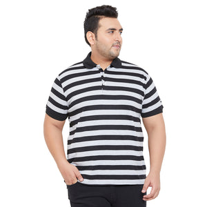 bigbanana Zame Black Striped Polo Collar Bio Finish T-shirt