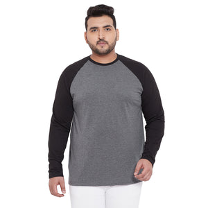 bigbanana Bristol Grey & Black Round Plus Size Neck T-shirt