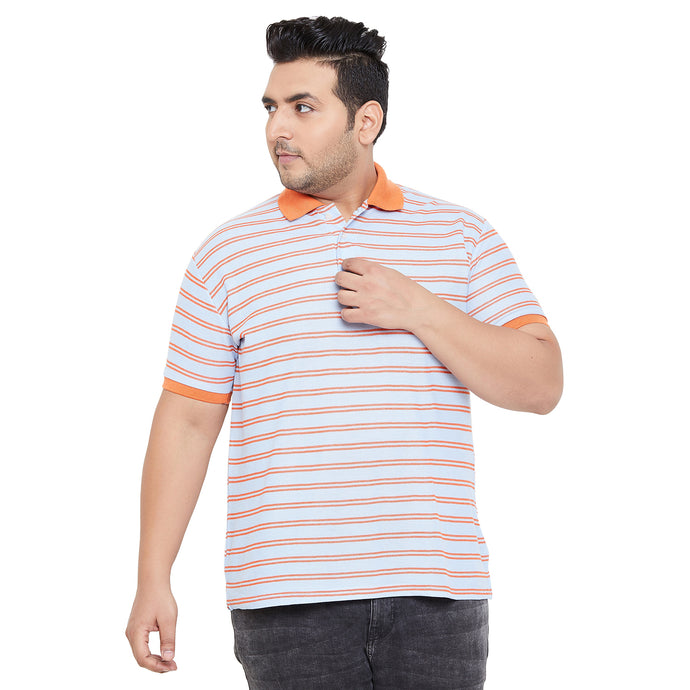 bigbanana Norwich Blue & Orange Striped Polo Collar Bio Finish T-shirt