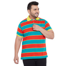 bigbanana Lancaster Teal Green & Orange Striped Polo Collar Bio Finish T-shirt