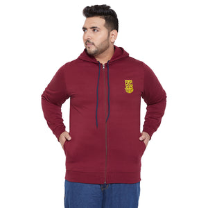 bigbanana Gale-Maroon Solid Antimicrobial Hooded Sweatshirt