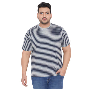 bigbanana Ashton Grey Striped Round Neck T-shirt