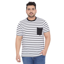 bigbanana Robin White & Black Striped Round Neck Bio Finish T-shirt