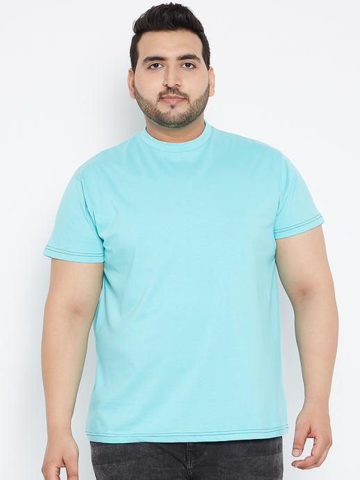 bigbanana Tony Solid Round Neck Tshirt in Light Blue Color - Bigbanana