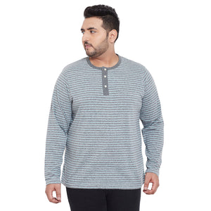 bigbanana Leeds Grey & Blue Striped Henley Neck Bio Finish T-shirt