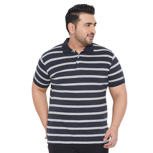 bigbanana Barry Navy Blue & Grey Striped Bio Finish Polo Collar T-shirt
