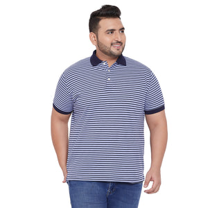 bigbanana Tyne Blue Striped Polo Collar Bio Finish T-shirt