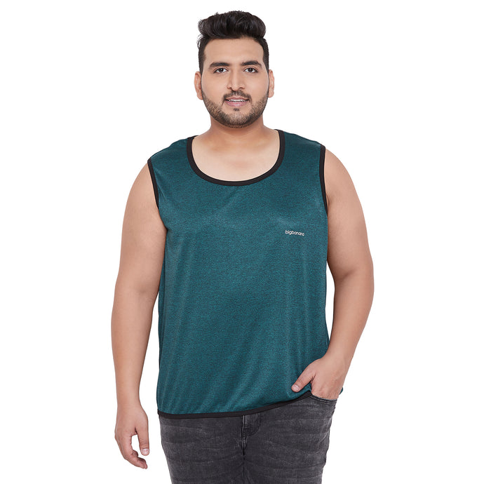 bigbanana Looe Teal Green & Black Solid Reversible Gym Vest