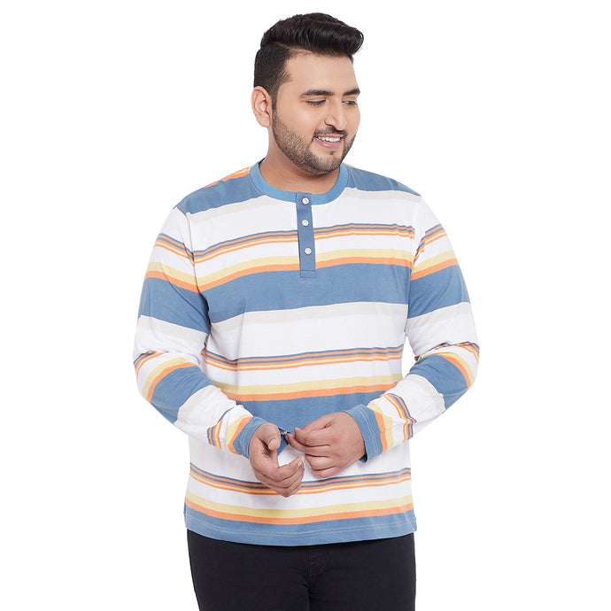 bigbanana Lincoln Multicoloured Striped Henley Neck  T-shirt