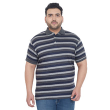 bigbanana Barlow Grey Striped Plus Size Polo Collar T-shirt