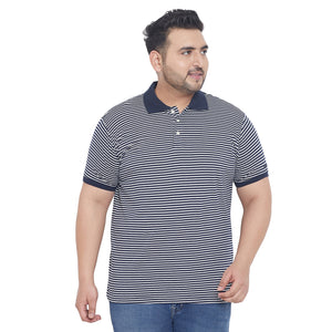 bigbanana Hendrick Blue & White Striped Plus Size Polo Collar T-shirt