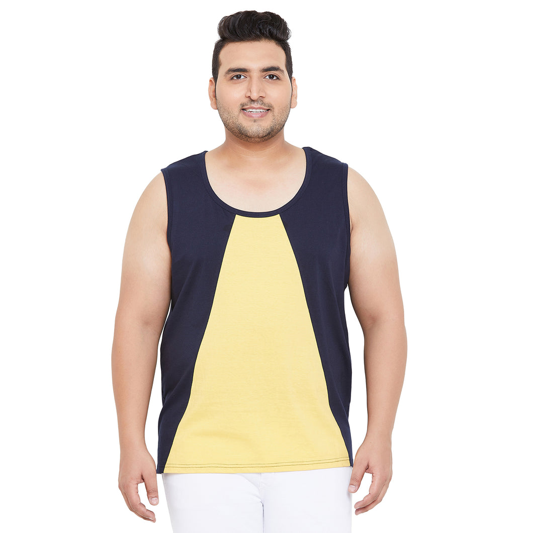 bigbanana Bairstow Navy Blue & Yellow Colourblocked Innerwear Vest