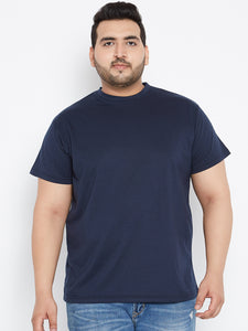 bigbanana Tony Solid Round Neck Tshirt in Navy Blue Color