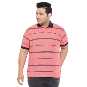 bigbanana Ripon Coral Pink & Blue Striped Polo Collar Bio Finish T-shirt