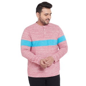 bigbanana Hove Pink & Blue Colourblocked Henley Neck T-Shirt