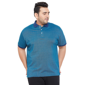 bigbanana Hooper Blue Solid Polo Collar Bio Finish T-shirt