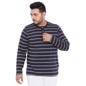 bigbanana Perth Navy Blue Striped Henley Neck Bio Finish T-shirt