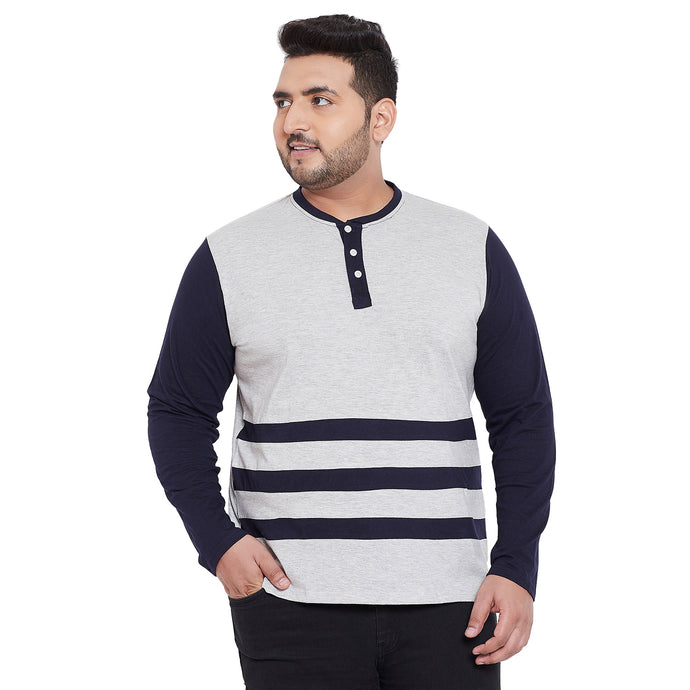 bigbanana Humber Grey & Navy Blue Striped Henley Neck T-shirt