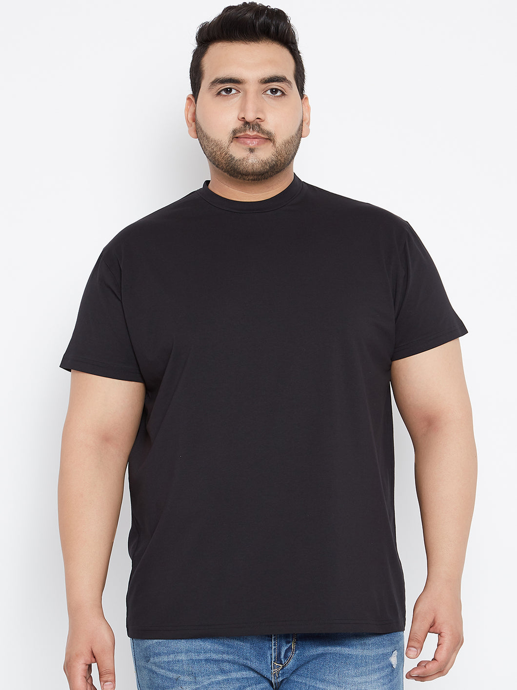 bigbanana Tony Solid Round Neck Tshirt in Black Color - Bigbanana