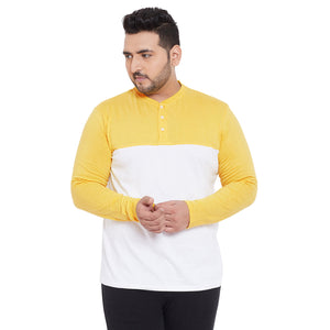 bigbanana Belfast Yellow Colorblocked Henley Neck T-shirt