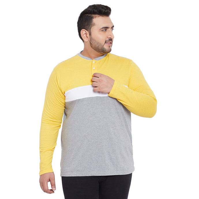 bigbanana Jase Yellow Colorblocked Henley Neck  T-shirt