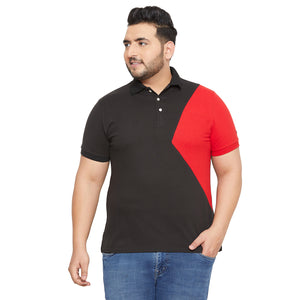 bigbanana Bunbury Black Colourblocked Polo Collar T-shirt