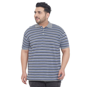 bigbanana Shuttleworth Striped Plus Size Polo Collar T-shirt