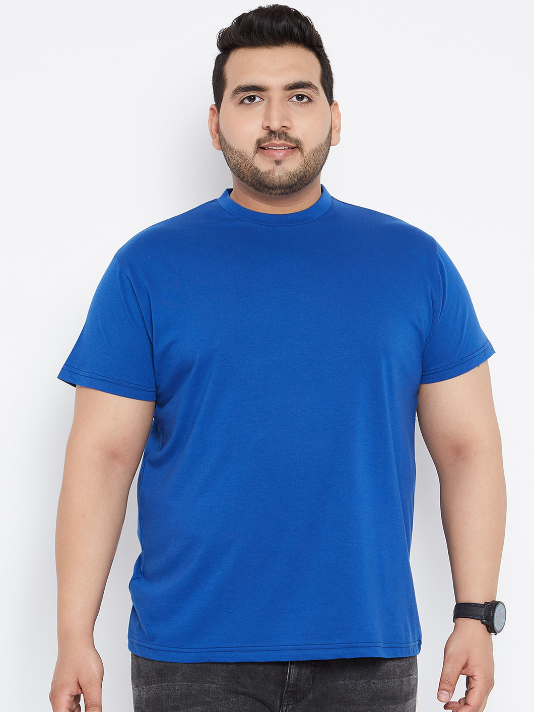 bigbanana Tony Solid Round Neck Tshirt in Royal Blue Color - Bigbanana