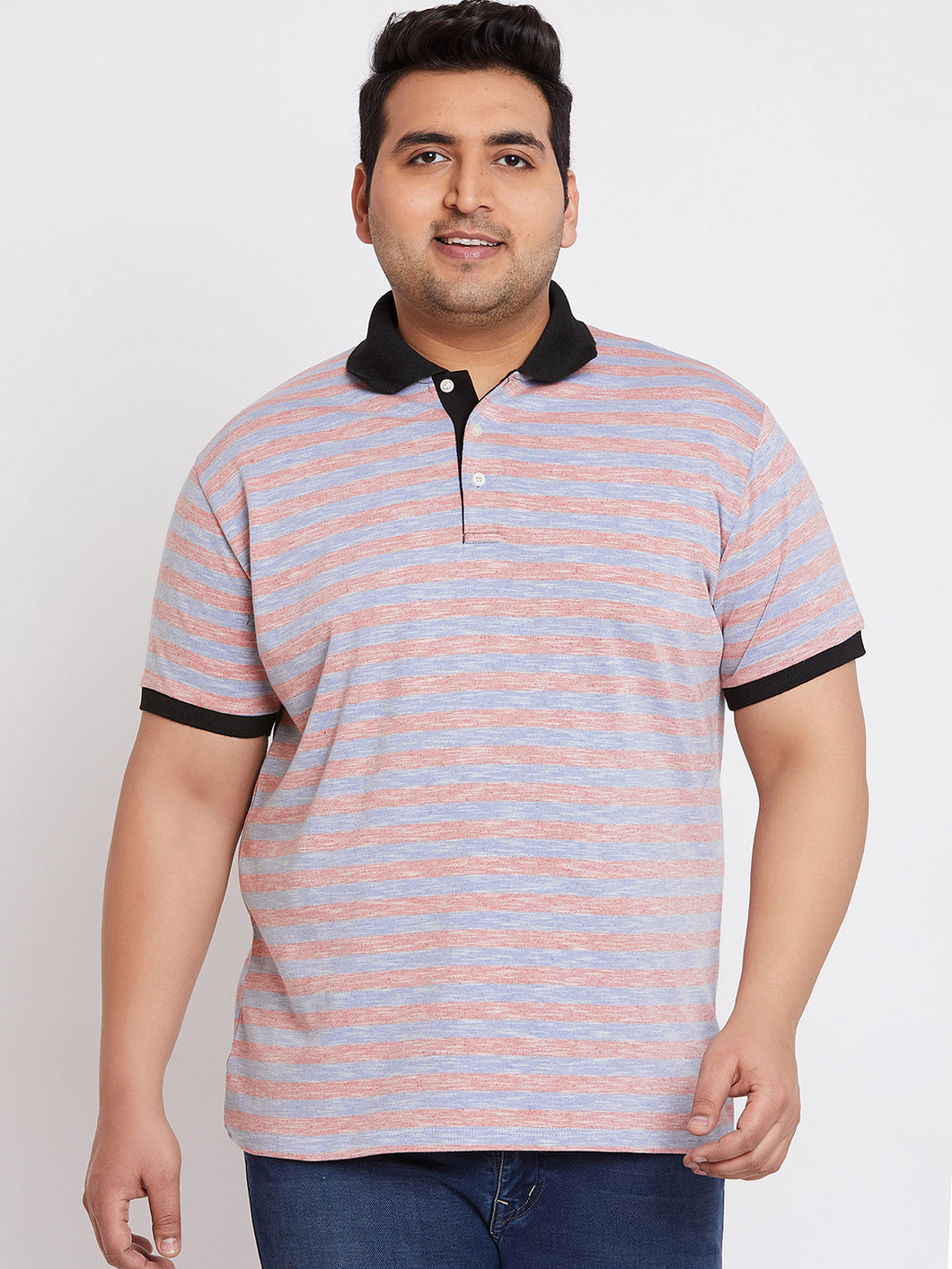 bigbanana Jimmy Blue Striped Polo Collar T-shirt